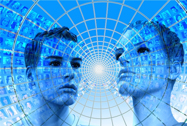 blog image of 2 faces supreimposed with screens of other faces showing how everyone is online.